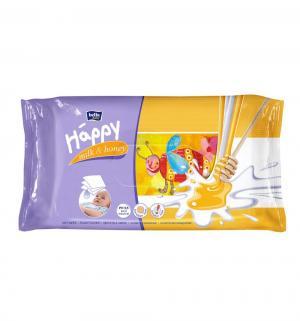 Влажные салфетки  baby Happy Молоко и мед, 64 шт Bella