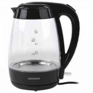 Чайник KT-200BK стекло с подсветкой 1.7 л Sonnen