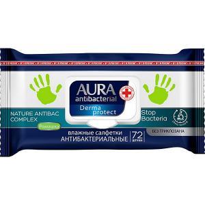 Влажные салфетки AURA антибактериальные, 72 шт Cotton Club