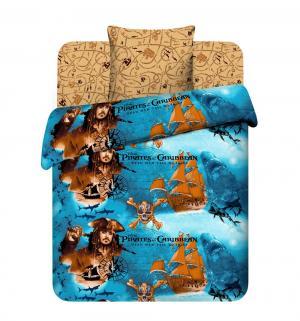Комплект постельного белья  Пираты Карибского моря, цвет: синий/коричневый Василек