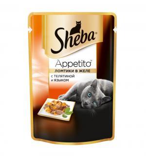 Влажный корм  для взрослых кошек, из телятины и языка, 85г Sheba