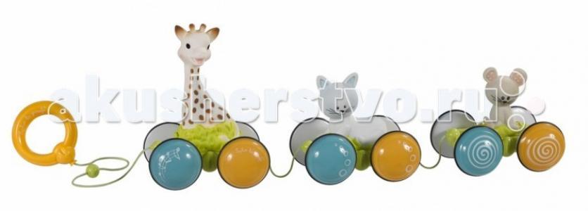 Каталка-игрушка  Жирафик Софи гуляет с друзьями 230758 Vulli