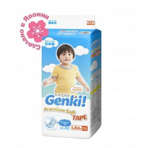 Подгузники Nepia Premium Soft L (9-14 кг) 54 шт. Genki