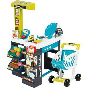 Магазин супермаркет с тележкой, со звуком, синий, Smoby