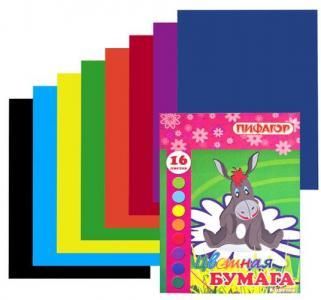 Бумага цветная двухсторонняя А4 16 листов  Ослик на ромашке синяя 8 цветов Пифагор