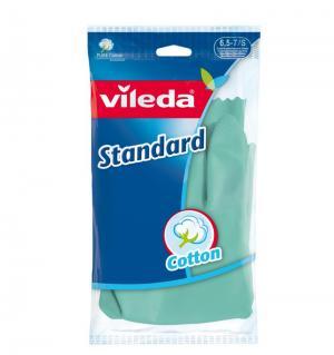 Перчатки латексные  с хлопковым напылением Standart, размер: S Vileda