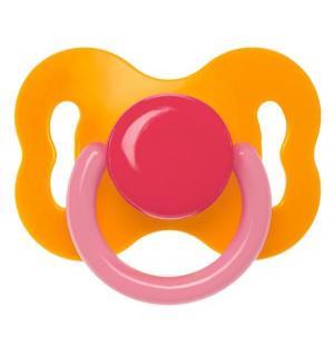 Пустышка  Бантик латекс, с рождения, цвет: оранжевый/красный/розовый Курносики