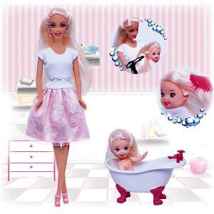 Набор кукол  Весёлое купание Ася с малышкой Toys Lab. Цвет: розовый