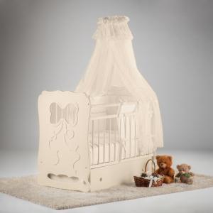 Детская кроватка  Мальвина маятник поперечный с ящиком Островок уюта