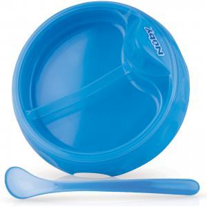 Двухсекционная  тарелка с ложкой, , голубой Nuby. Цвет: голубой