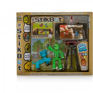 Игровой набор  Stikbot Студия с питомцем, Человечек голубой кошкой Zing