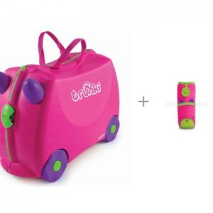 Детский чемодан на колесах Trixie и Накладка-чехол для ремня безопасности Trunki