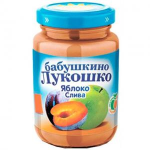 Пюре  яблоко-слива с 5 месяцев, 200 г Бабушкино лукошко