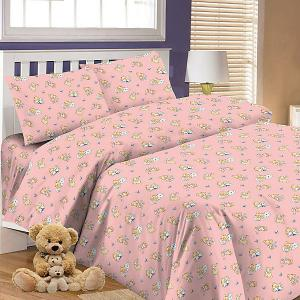 Детское постельное белье 3 предмета , простыня на резинке, BGR-63 Letto. Цвет: розовый