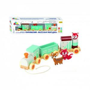 Деревянная игрушка  паровозик Веселая поездка Фабрика фантазий