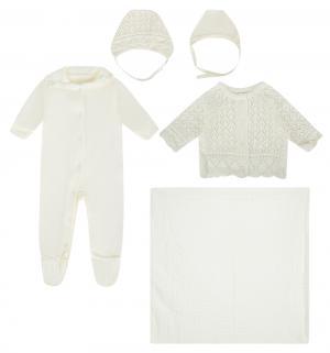 Комплект на выписку Фриволите , цвет: молочный плед/комбинезон/кофта/шапка/чепчик Leo