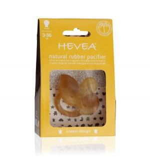 Пустышка  Crown круглая, с 3 мес, цвет: натуральный каучук Hevea