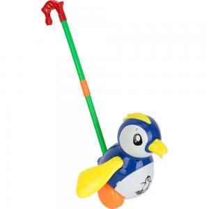 Каталка  Пингвин синий, длина ручки: 38 Игруша