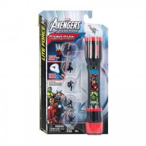 Фонарик-проектор Мстители: 3 в 1 (фонарь + лампа проектор), Marvel Avengers Детское время