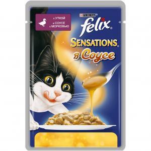 Корм влажный  Sensation для взрослых кошек, утка/морковь, 85г Felix