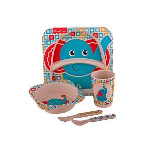 Набор детской бамбуковой посуды Fisher-Price Слонёнок Mattel. Цвет: разноцветный