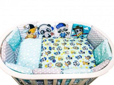 Комплект в кроватку  Малыши мальчики подушечки Вид 1 (17 предметов) Сонная сказка