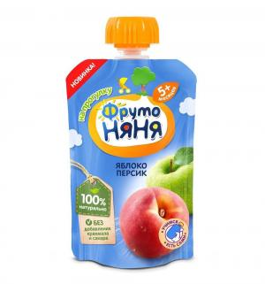 Пюре  в мягкой упаковке яблоко-персик с 5 месяцев, 90 г, 1 шт ФрутоНяня