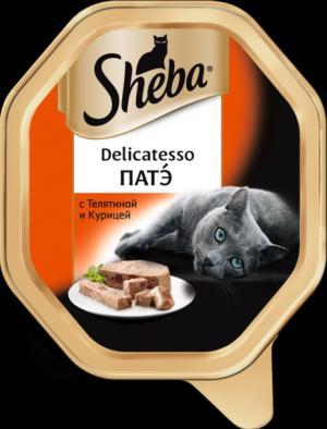 Влажный корм  Delicatesso для взрослых кошек, патэ с телятиной и курицей, 85г Sheba