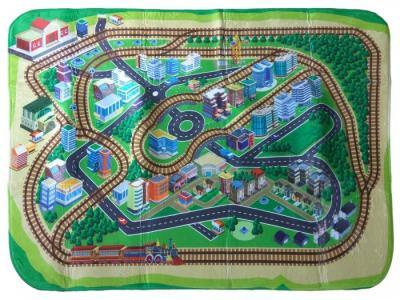Игровой коврик  ультрамягкий Железная дорога 130х180 см Teplokid