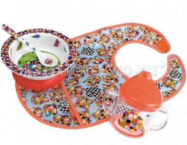 Набор детской посуды Elmer с нагрудником Petit Jour