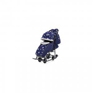Санки-коляска  Pikate Звезды на тёмно-серой раме, синий ABC Academy. Цвет: синий