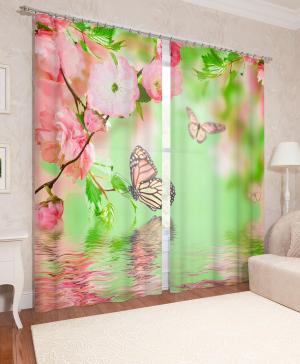 Фотошторы Бабочки и цветы Сирень