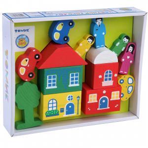 Деревянный конструктор  Цветной городок, 14 деталей (зеленый) Томик
