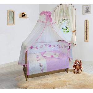 Бортик в кроватку  Ласковое лето розовый, на молниях Soni Kids. Цвет: розовый