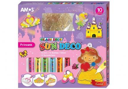 Набор витражных красок Принцессы: 10 цветов, 12 витражей Amos