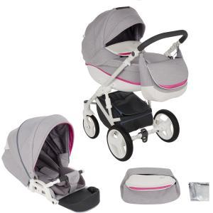 Коляска 2 в 1  Ideal New, цвет: светло-серый/розовый/белый Bexa Poland