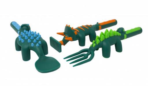 Набор из трех столовых приборов в виде динозавров Constructive eating