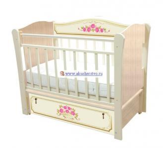 Детская кроватка  Розы (продольный маятник) Влана