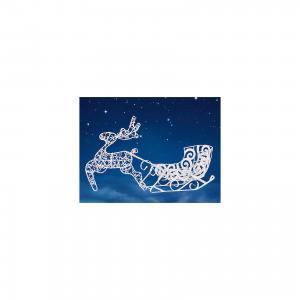Декоративная металлическая подставка Олень с санками, белый цвет TUKZAR