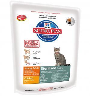 Сухой корм Hills Science Plan Sterilised Cat Young для взрослых кошек /для после стерилизации, курица, 300г Hill's