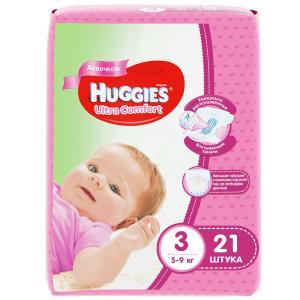 Подгузники  Ultra Comfort 3 для девочек (5-9 кг) 21 шт. Huggies