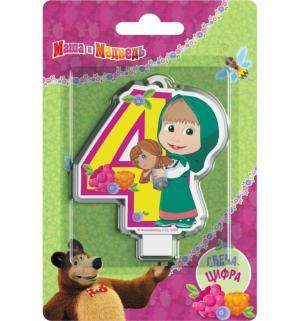 Свеча-цифра  №4 8 см Маша и Медведь