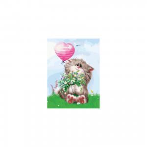 Живопись на картоне 30*40 см Кот с букетом Белоснежка