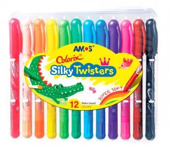 Мелки пастельные на масляной основе Silky Twisters 12 цветов Amos