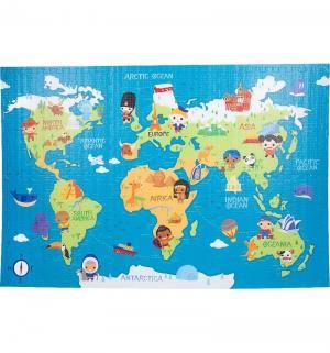 Коврик-пазл  Карта мира ( 6 дет.) 180 х 120 см Mambobaby