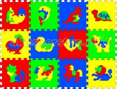 Игровой коврик  с животными 12 деталей Тедико