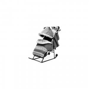 Санки-коляска  2УВ Авто, черная рама, ABC Academy, серый Скандинавия