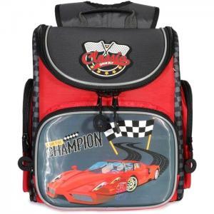 Рюкзак школьный , цвет: красный/серый Grizzly
