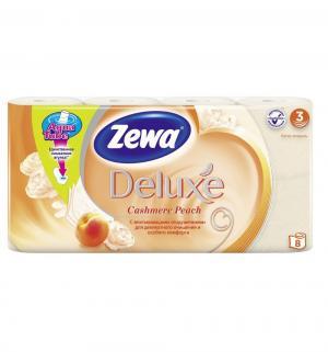Туалетная бумага 3-х слойная персик  Deluxe, 8 шт Zewa