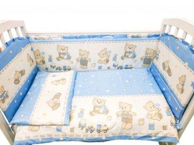 Комплект в кроватку  Мишка с кубиками (6 предметов) Сонная сказка